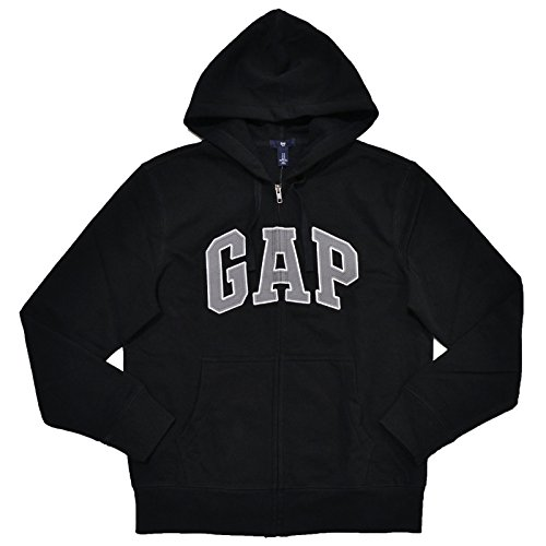 GAP Mens Fleece Arch Logo Full Zip Hoodie (Black, Large)
