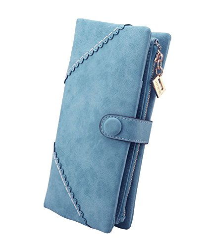 DNFC Geldbörse Damen Portemonnaie Lang Portmonee Elegant Clutch Große Kapazität Handtasche Geldbeutel PU Leder Geldtasche mit Reißverschluss und Druckknopf für Frauen (Hellblau)