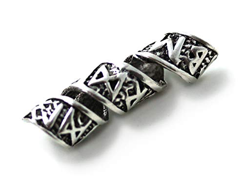 925 Sterling Silver Norse Viking Celtic Runes Beard Rings, Dreadlock Pirate Hair Beads, Pagan Jewelry