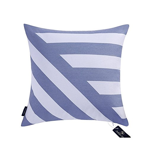 Funda de almohada decorativa Chevron a rayas 50X50cm Funda de almohada para sofá cama de lona de algodón Azul Zig zag Stripes Impresión de algodón hecha a mano Bold Twisted Stripes 1 PC 20x20 pulgadas