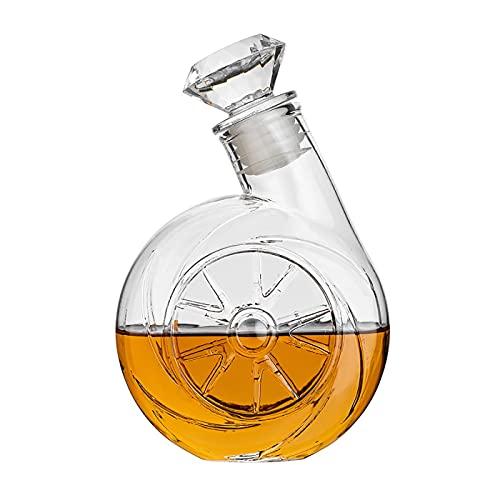Decantador de Vino con Forma de soplador Retro, decantador de Whisky con tapón en Forma de Diamante, Botella de Vino de Vidrio a Prueba de Fugas, Regalo relacionado con vinos, 500 ml