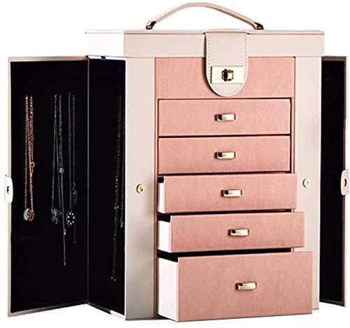 Caja de madera hecha a mano con llave oculta y ext Caja de joyería grande, organizador Funcional enorme, caja de almacenamiento de joyería de cuero para mujer para mujer anillo collar Pendiente Pulser