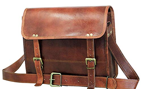 GnG International - Borsa messenger per computer, vintage, in pelle di capra, colore; marrone, per ufficio, senza tasca, 30,5 x 40,5 cm