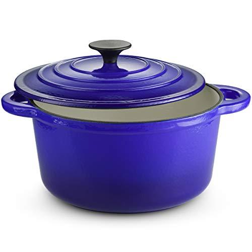 Klee Enameled Cast Iron Dutch Oven Casserole Dish with SelfBasting Cast Iron Lid 4Quart Blue