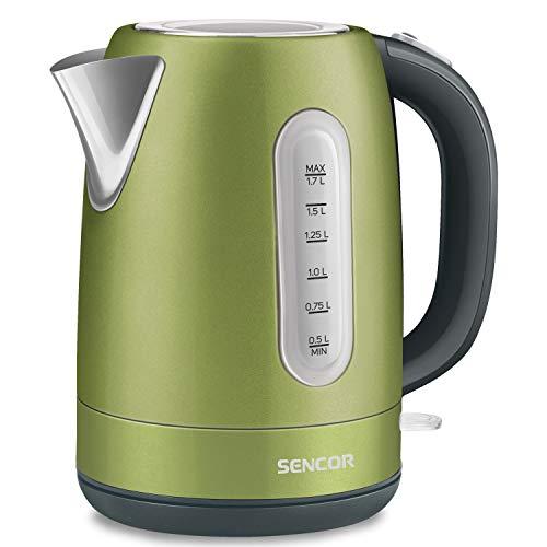 Sencor SWK1770GG 1.7L Stainless Steel Electric Kettle with Lid Safety Lock, Light Green
