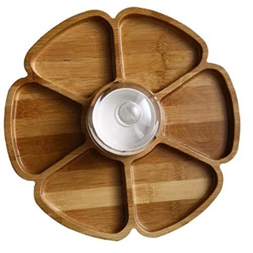 Case Cover Getrocknete Obstteller Aus Holz Petal Shaped Sechs Compartments Nuss Box-Fach Snack Platter Teller (Holz-Farbe)
