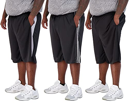 3 Pack: Men's Big and Tall Mesh Active Quick Dry Fit Active Athletic Plus Size Clothing Workout Summer Gym Clothes Sleeping Basketball Gym Shorts Casual Exercise Elastic Running Essentials- Set 8, 4X