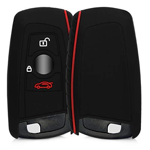 kwmobile Autoschlüssel Hülle kompatibel mit BMW 3-Tasten Funk Autoschlüssel (nur Keyless Go) - Silikon Schutzhülle Schlüsselhülle Cover in Schwarz Rot