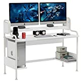 Tribesigns 55-Inch Computer Desk with Monitor Shelf, Large Gaming Desk with Hutch and Storage...