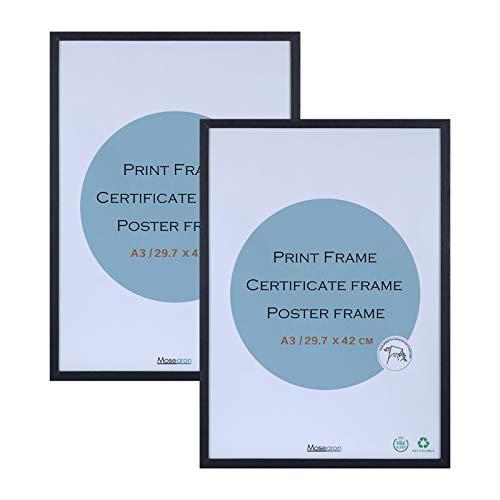 Cornice portafoto in legno con certificato A3, 2 pezzi, con plexiglass per montaggio a parete, 29,7 x 42 cm, confezione da 2