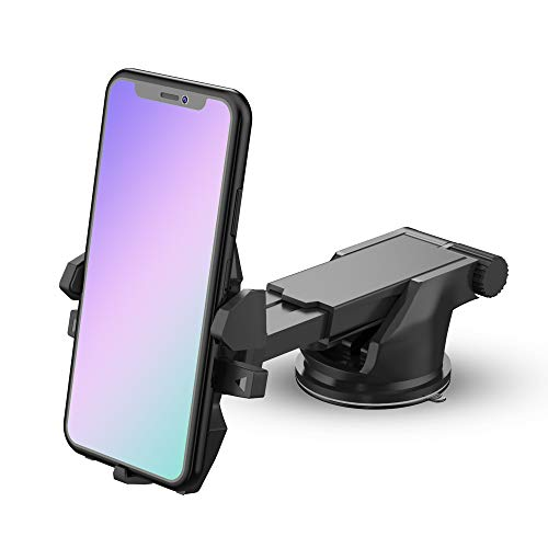 DIGITEK® DCH-055 Car Phone Holder, Dashboard/Windshield/Working Desk Phone Mount with Long arm, Sturdy Grip, Adjustable 360 Degree Rotation | Compatible with All Types of Smartphones (DCH-005)