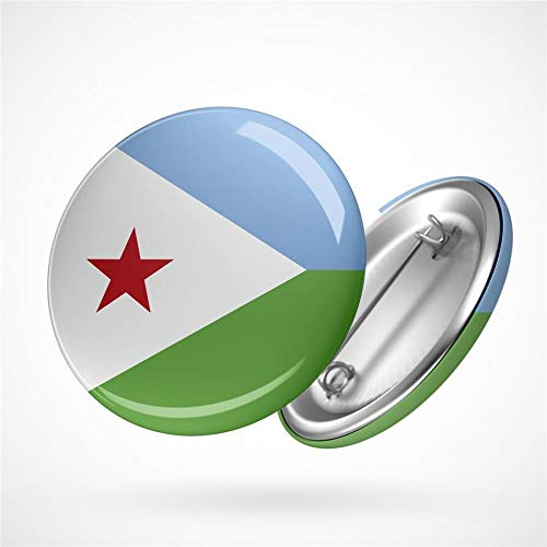 Hellweg Druckerei Button Anstecker Djibouti Dschibuti Flagge Ostafrika Flag Badge Abzeichen Pin