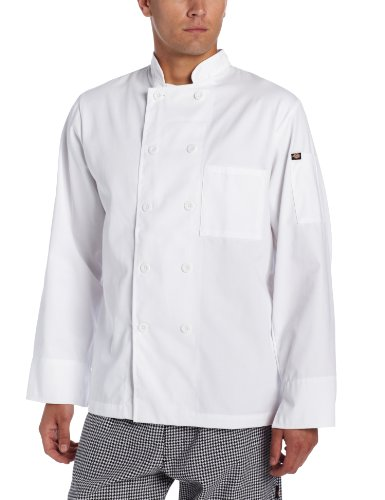 Dickies Men's Paolo Classic Chef Coat. Basic Long Sleeve with Pearl Buttons, White, Medium