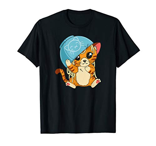 Cute cat With noodle bowl Over head T-Shirt