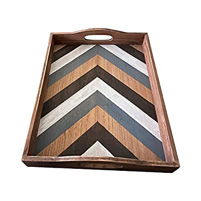 Large Striped Wooden Coffee Table Tray