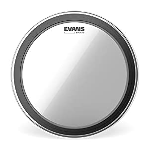 """Evans EMAD2 Clear Bass Drum Head, 18"""" – Externally Mounted Adjustable Damping System Allows Player to Adjust Attack and Focus – 2 Foam Damping Rings for Sound Options - Versatile for All Music Genres"""