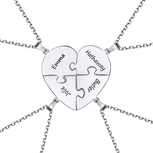 Regalo a Hermanas Madre Hija Mejores Amigas Joyería de Amistad Amor Familiaridad Collares de Plata de Ley 925 Elegantes Corazones Rompecabezas Dividido 4 Costuras