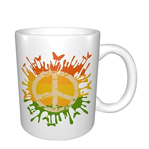 Hdadwy Bonita taza de café con diseño de signo de la paz, tazas de café de 11 onzas con asas para bebidas calientes, taza para café, té