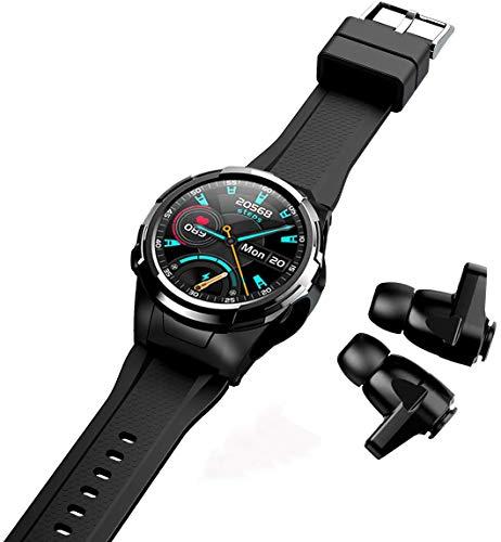 CXWAWSZ Reloj inteligente con auriculares Bluetooth para hombres y mujeres podómetro fitness