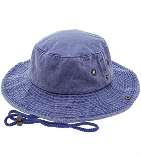 MIRMARU 100% Cotton Pigment Dyed Vintage Bucket Hat - Outdoor Fishing Hiking Safari Boonie Sun Hat with Adjustable Chin Cord.(NH-1522-ROYAL Blue-SM)