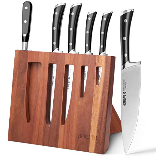 Homever Knife Set, 7-Piece Kithcen Knife Set with Block Wooden, Manual Sharpening for Chef Knife...