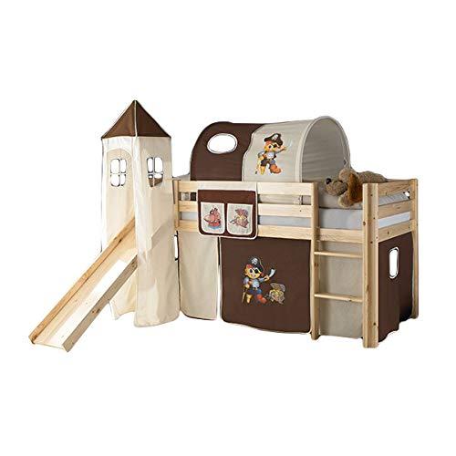 Jugendmöbel24.de Rutschbett Joel Kiefer massiv Natur EN 747-1 + 747-2 Kinderzimmer Hochbett Kinderbett Spielbett Massivbett