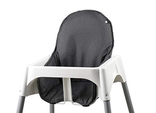 Tinydo® Hochstuhl-Sitzkissen optimal für IKEA Antilop und ähnliche Hochstühle mit Memory-Schaum-Dämpfung Sitzverkleinerer-Auflage für Babystühle rutschfest pflegeleicht (gepunktet)