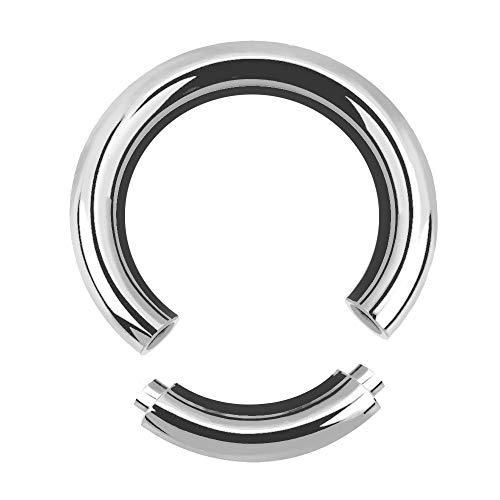 Treuheld® | 6mm x 16mm Segmentring Piercing Ring | Chirurgenstahl | Dick | Silber | Intimpiercing für Frau und Mann, Septum, Ohr, Lobe, Nase, PA