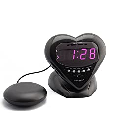 Sonic Alert Sonic Bomb Extra Loud Heart Alarm Clock with Bed Shaker Vibrator Metallic Black - SBH400SSB Vibrating Alarm Clock Heavy Sleepers, Battery Backup | Wake with a Shake