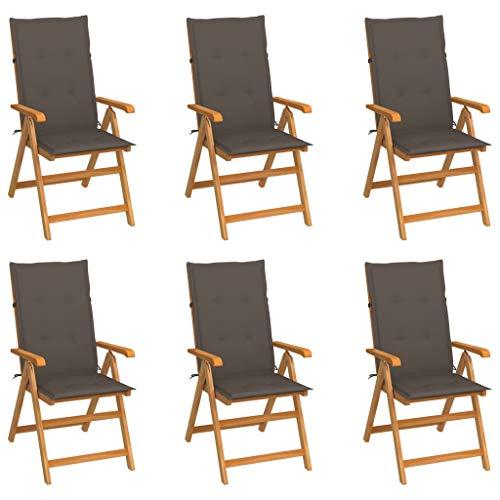 vidaXL 6X Madera Maciza de Teca Sillas de Jardín Cojines Plegables Terraza Exterior Balcón Patio Sillón Asiento Butaca Muebles Mobiliario Gris Taupe