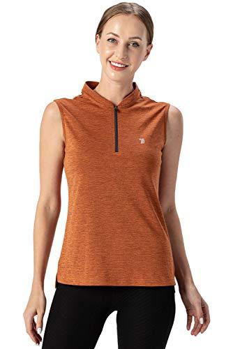 donhobo Damen Ärmelloses Poloshirt Quick Dry Sport Tanktops mit Reißverschluss Laufen Fitness Funktions Shirt (Orange, 2XL)