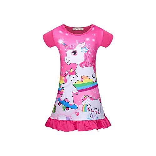 DSL - Camisón de manga corta para niña, diseño de unicornio Rosa 6-7 años