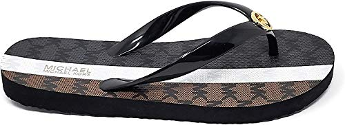 Michael Kors MK Stripe Flip Flop, Black/Brown (Numeric_9)