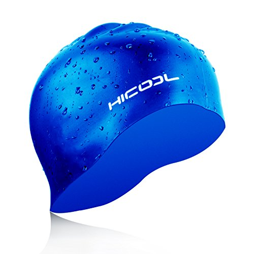 HiCool Swim Cap, Waterproof Silicone Swim Cap Comfortable Durable Swimming Cap Keep Hair Dry with Anti-Slipping and Highly Elastic For Men Women Adults