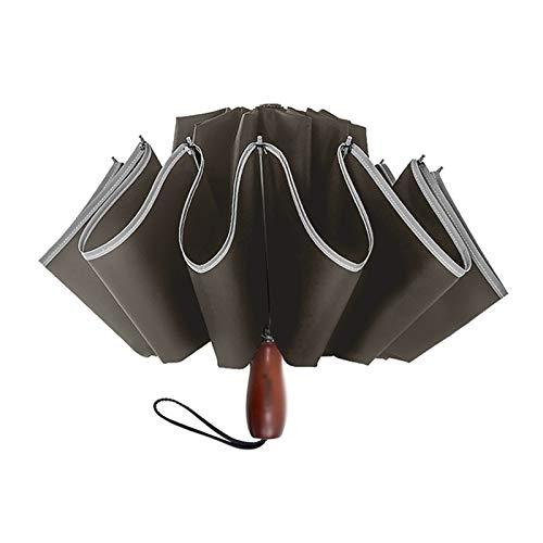 Paraguas Invertido De 25 Pulgadas con Rayas Reflectantes Paraguas De Viaje Tira Reflectante A Prueba De Viento Plegable Paraguas Inverso De Golf Automático (Color : Wine Red, Talla : 25 Inch 10 K)