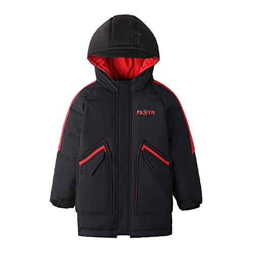 Jungen Daunenjacken Winter Kapuzenjacke Kinder Langer Mantel Parka Oberbekleidung,Black,110cm