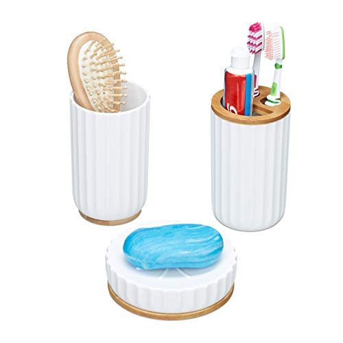 Relaxdays Set de Accesorios de baño, PP, bambú, Blanco, 1 Pack