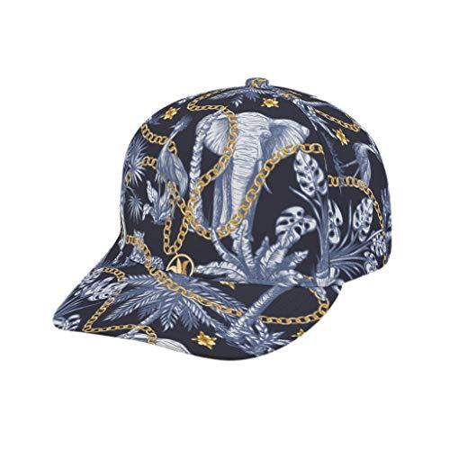 AXGM Unisex-Erwachsene Kappe Elefant Leopard Vogel Dschungel Mütze Sommer Outdoor Hut Baseball Cap mit Schirm Basecap für Draussen Sport oder auf Reisen White OneSize