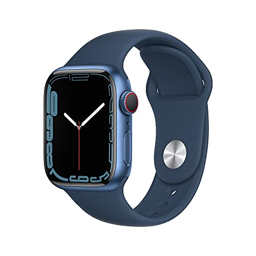 Apple Watch Series 7 GPS + Cellular, 41mm Blue Aluminum Case with Abyss Blue Sport Band - Regular