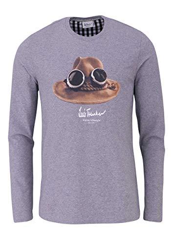 Luis Trenker T-Shirt Langarm DER Hut Rundhals mit Druck Mittelgrau Größe XL