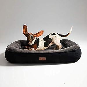 Bedsure Cama para Perros Grandes L - Colchon Perro Lavable de Felpa Muy Suave - Sofá de Perro 92x69x18cm,Negro