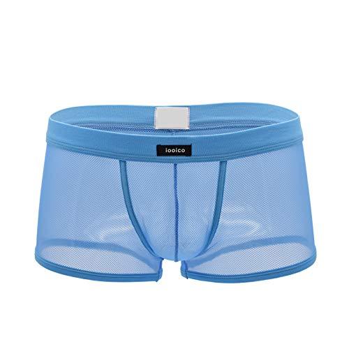 Leories Mens Boxer Briefs Soft Mesh Underpants See-Through Underwear
