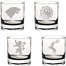 Game of Thrones Glasses: Stark, Targaryen, Baratheon, Lannister Sigil Silhouette Set of FOUR Etched Rocks/Whiskey Drinking Glasses