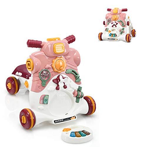 COSTWAY 3 in 1 Lauflernwagen mit Lichtern und Musik, Lauflernhilfe & Rutschauto & Spielbrett, Baby Walker für Baby von 6-36 Monaten, Gehfrei 46 x 46 x 46cm