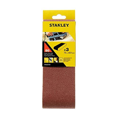 Stanley STA33101-XJ Schleifband (75 x 457 mm, grobe Körnung K80, passend für Black+Decker Bandschleifer KA85, KA85EK, KA86, 3 Stück), braun