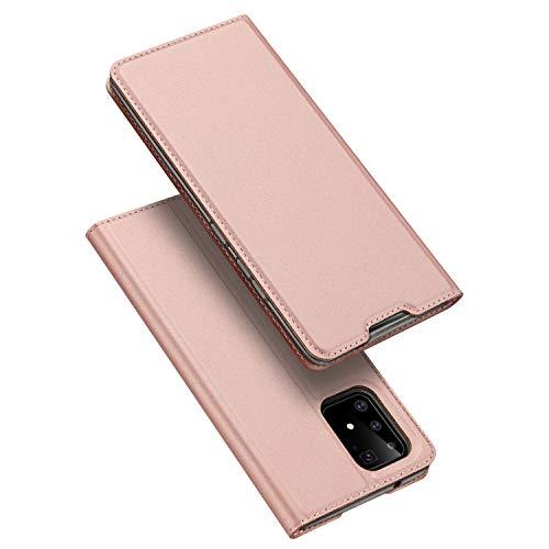 DUX DUCIS Hülle für Samsung Galaxy S10 Lite, Leder Klappbar Handyhülle Schutzhülle Tasche Hülle mit [Kartenfach] [Standfunktion] [Magnetisch] für Samsung Galaxy S10 Lite (Rose Golden)