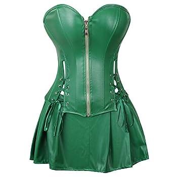 frawirshau Faux Leather Corset Dress Corsets for Women Bustier Lingeire Corset Skirt Green 3X