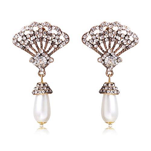 Seleccione aretes retro huecos de alta gama, aretes decorativos de perlas y...