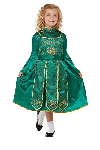 Smiffys Deluxe Irish Dancer Costume Disfraz de bailarina irlandesa de lujo, color verde, M-7-9 Years (55051M)