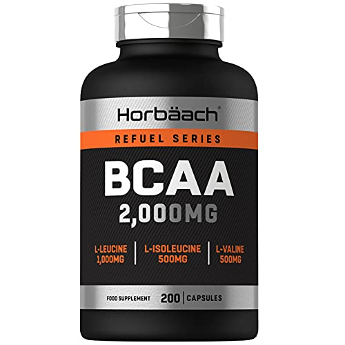 BCAA Fit 2,000mg | 200 Capsules | Branched Chain Amino Acid Supplement with L-Leucine, L-Isoleucine & L-Valine | Unflavoured | No Artificial Preservatives